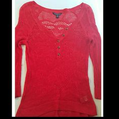 American Eagle Outfitters beautiful red sweated AE light weight reduction sweater, great for summer can picture  it with distressed cutoffs, never worn excellent condition American Eagle Outfitters Tops