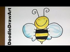 Drawing: How To Draw an Easy Cartoon Bee - step by step easy for kids and beginners