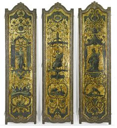 Italian, Baroque, gilt and polychrome-painted six-panel screen.  Oil on panel, gold ground. 18th-19th century. Three of six panels shown.