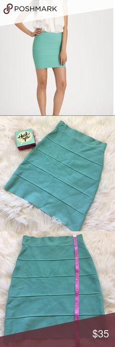 BCBG Maxazria simone aqua bandage skirt sz Small EUC no rips or stains, size Small, 90% rayon 9% nylon 1% spandex BCBGMaxAzria Skirts Mini