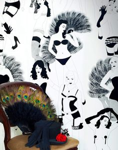 This would be really cool in a closet or bathroom. Burlesque wallpaper. Lovely. They also make other glamour/1950's style wallpaper and will do small sample size pieces for small projects
