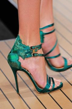 Turquoise high heels sandals - Shoes and beauty