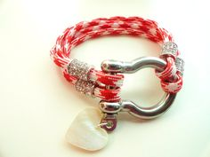 Red and White Paracord Bracelet