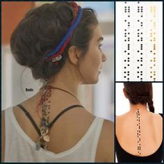 Tuba Buyukustun as Elif in KARA PARA ASK, Elif' tatoo that Engin Akyürek as Ömer figured out the meaning of, which was Unconstitutional Love in Brail. Cute Tattoos, Tatoos, Braille Tattoo, Spine Tattoos, Bohemian Hairstyles, Curly Hair Cuts, Turkish Actors, Tattoos With Meaning, Hair Band