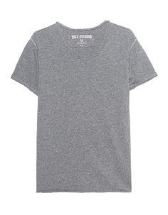 Baumwoll T-Shirt Grau meliertes schmal geschnittenes T-Shirt aus hochwertiger Baumwolle mit V-Ausschnitt mit offener Naht und aufgerolltem Saum.  Ein lässiges Basic-Piece, perfekt für jeden Look!