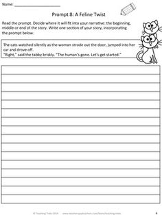 NARRATIVE WRITING PROMPTS FREEBIE - TeachersPayTeachers.com