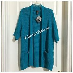 NWT Chicos 3 Large (16-18) Long Teal Sweater Coat Wendy Weave Bondi Additions #ebay #chicos #teal #sweater #forsale
