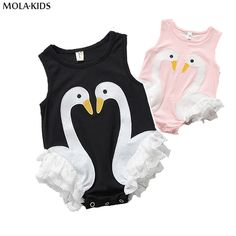 BOBO CHOSE Lovely Baby Swan Bodysuit Black/Pink Jumpsuit For New Born Baby Boy/Girls Sleeveless Summer Clothes Toddler One-piece