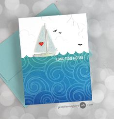 Memory Box Cards, Memory Box Dies, Sailboat Craft, Jennifer Mcguire Ink, Paper Feathers, Flower Outline, Tim Holtz Distress Ink, Cardmaking And Papercraft, Simon Says Stamp