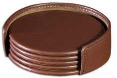 Chocolate Brown Leather Round Coaster Set WAURCUSA1245 http://woodartsuniverse.com/catalog/product_info.php?cPath=24&products_id=478