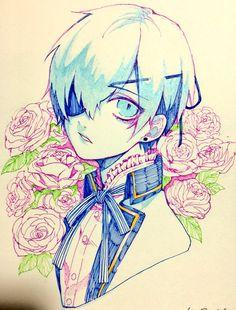 Ciel Phantomhive. Black Butler. Art. Anime. Manga. Eye Patch. London. Flowers. Roses. Drawing. Blue Eyes. Fan Art.