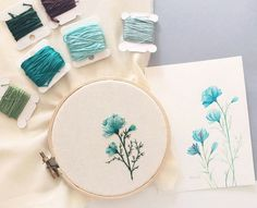 Watercolor plus matching embroidery