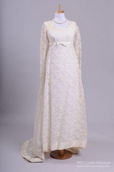 1960's Alencon Lace Vintage Wedding Gown : Mill Crest Vintage