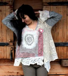 Reserved for BonkersForBeads, do not purchase this item. M-XL Shabby chic vintage style recycled sweater felted lace. Made from recycled sweaters,