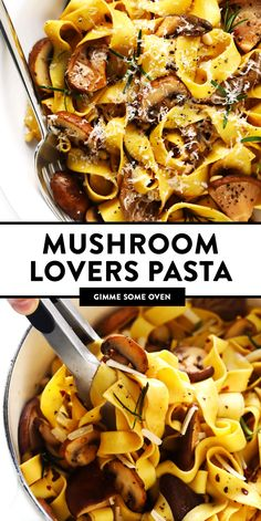 This Mushroom Lovers Pasta recipe is tossed with a heavenly rosemary balsamic butter sauce, lots of Parmesan cheese, pine nuts, and whatever kinds of mushrooms you love. Total (vegetarian!) comfort food. | gimmesomeoven.com #pasta #mushroom #vegetarian #dinner #valentines #cheese #sauce #italian