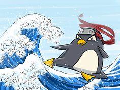 Sui Sette Mari di ARRR!!! nel sabato dedicato all'#angolodelpinguino troviamo minaccioso il Pinguino Ninja di Elena Cavaliere.