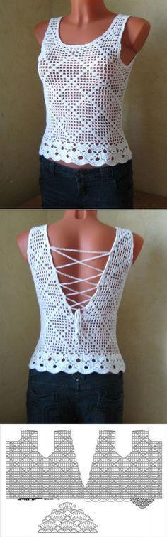 Ажурная маечка крючком со схемами. Summer T-shirt with crochet patterns | Домоводство для всей семьи. More