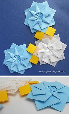 mas origami: Semana de Mayo en origami: escarapelas y otras piezas en celeste y blanco