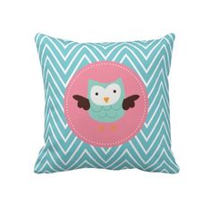 Aqua Spring Owl Pillows   Click on photo to purchase. Check out all current coupon offers and save! http://www.zazzle.com/coupons?rf=238785193994622463&tc=pin