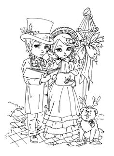 XMAS Carolers by JadeDragonne. Blank Coloring Pages, Printable Coloring Pages, Coloring Books, Digital Stamps Free, Fairy Coloring, Outline Drawings, Christmas Coloring Pages, Christmas Embroidery, Christmas Colors