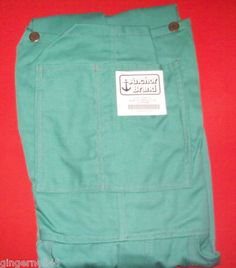 Anchor Brand Cotton Sateen Bib Overalls Ca-135 Size Large Green Made in USA free shipping