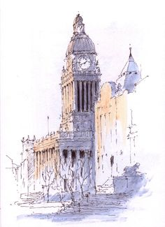 Leeds Town Hall built between1853 & 1858 and designed by the architect Cuthbert Brodrick ~ sketch ~ John Edwards