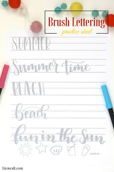 Brush Lettering Practice Sheet Practice your hand lettering while the kids are at the pool with this summer brush lettering practice sheet.Practice your hand lettering while the kids are at the pool with this summer brush lettering practice sheet. Brush Lettering Worksheet, Brush Lettering Quotes, Lettering Guide, Hand Lettering Practice, Hand Lettering Fonts, Doodle Lettering, Creative Lettering, Lettering Tutorial, Practice Cursive