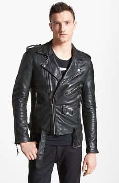 $995, Leather Jacket 5 Leather Moto Jacket by BLK DNM. Sold by Nordstrom. Click for more info: http://lookastic.com/men/shop_items/6318/redirect