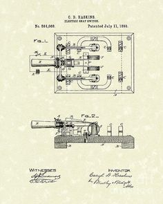 Electric Switch 1893 Patent Art