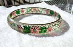 Plique a Jour Enamel Bracelet Clear Enamel Floral Bangle Chinese Vintage Cloisonne by Oldtreasuretrunk on Etsy
