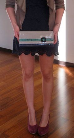 Aquatalia 'Fad' Clutch ~ Ultraglossy shades of navy & beige colorblocked with a hint of exotic textured emerald..