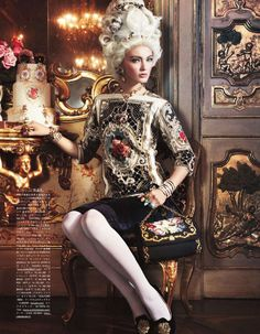"""""""All the Riches a Girl Can Have"""": Ymre Stiekema as Marie Antoinette by Giampaolo Sgura for Vogue Nippon, october 2012 Mode Rococo, Mode Baroque, Vogue Japan, Foto Fashion, High Fashion, Classic Fashion, Vogue Fashion, Daily Fashion, Fashion Beauty"""
