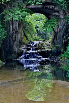 Japan(千葉県) - Noumizo no taki waterfall @ Chiba, Japan(千葉県) →This is an… Amazing Places On Earth, Beautiful Places To Visit, Places To See, Wonderful Places, Travel Around The World, Around The Worlds, Chiba Japan, Rock Waterfall, Beautiful Waterfalls