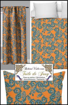 Tissu fleuri voilage toile de jouy fleur au m tre rideau orange tissu toile de jouy fleuri - Rideau de cuisine au metre ...