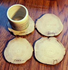Wood Burned Pyrography Wooden Coasters by IndigoSpoons on Etsy