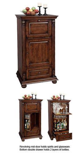 Howard Miller Cognac 695-078 Hide-A-Bar Living Room Wine Cabinet