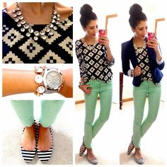 green with prints