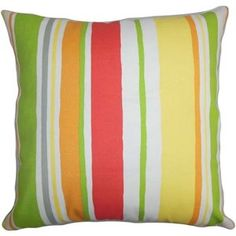 The Pillow Collection Square Ibbie Stripes Throw Pillow (B)