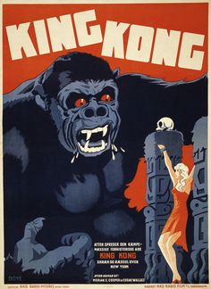 A poster advertising the motion picture King Kong in Denmark. 1948.