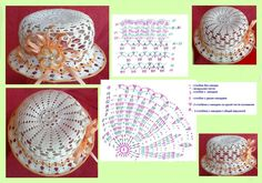 Crochet Flower Patterns, Crochet Flowers, Crochet Lace, Childrens Crochet Hats, Crochet Hat Tutorial, Sombrero A Crochet, Crochet Hooded Scarf, Crochet Summer Hats, Vintage Crochet