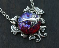 Dragons Breath Fire Opal Necklace with Silver by robinhoodcouture