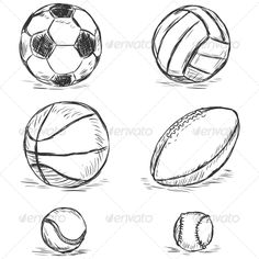 Find Vector Sketch Illustration Sport Balls Football stock images in HD and millions of other royalty free stock photos, illustrations and vectors in the Shutterstock collection. Sports Basketball, Sport Football, Sports Art, Ballon Rugby, Sports Drawings, Basketball Drawings, Illustration Sketches, Tennis, Volleyball Drawing