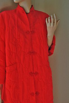 Vintage Bright Red Quilted Chinese House Coat  by LingerieAddicts, $42.50
