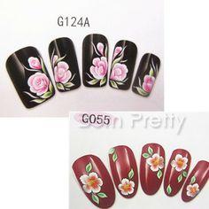 Flower nail decals @BornPrettyStore, 1Sheet Charming Flower Rosette Patterned Nail... at $2.86. http://www.bornprettystore.com/-p-12672.html