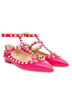 Valentino Rockstud Grained Matte Leather Flats