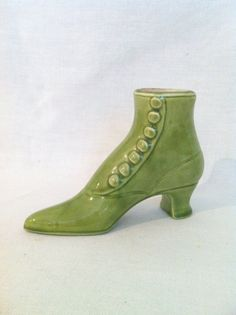 Vintage lime green ladies button up boot shoe ceramic by Comforte, $9.00