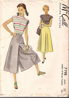 McCall 7198; ©1948; Ladies'& Misses' Culottes Mid-calf length split skirt darted to waistband with side slide fastener, pockets in side seam.