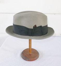 9074bcb46e9 1950s Vintage Dobbs Gray Fedora Hat Size 7 1 4 by MyVintageHatShop Men s  Vintage