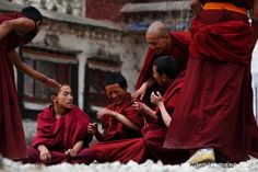 The debate of the monks in Sera monastery in Lhasa, one of the highlights of our escorted Tibet group tour.