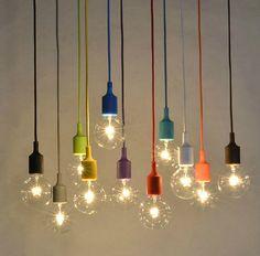 DIY Colorful Edison lamp - candy color lamp - vintage bulb - Pendant Light